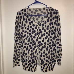 Ann Taylor Light Navy Cream Polka Dot Cardigan